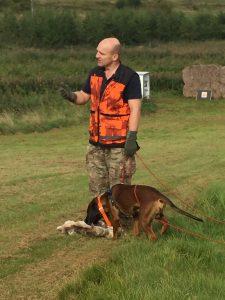 Peter forklarer hvordan han træner sin Bayerske Vildtsporhund